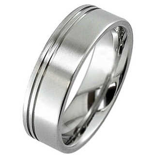 Matt Finished Flat Profile Titanium Ring