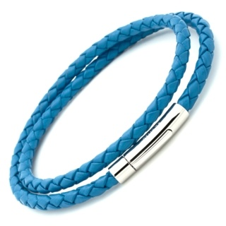 Sky Blue Bolo Leather Double Wrap Bracelet