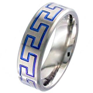 Flat Profile Zirconium Ring with Blue Aztec Design