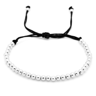 Adjustable Silver Beaded Adjustable Bracelet
