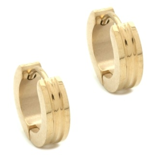 Grooved Gold Stainless Steel Huggie Earrings