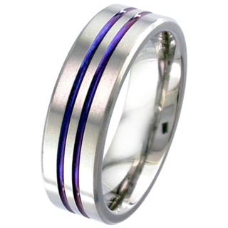 Flat Profile Zirconium Wedding Ring with Anodised Bands