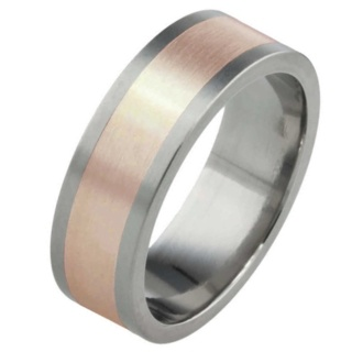 8mm Titanium Ring with Wide Rose gold Inlay
