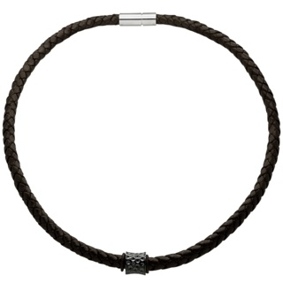 Woven Brown Leather Necklace with a Black Concave Indented Titanium Bead