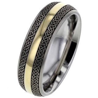 Celtic Titanium ring with Gold Inlay
