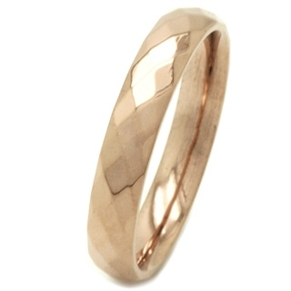 Faceted 4mm Rose Gold Stainless Steel Ring