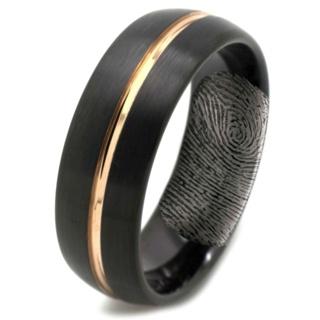 Dome Profile Black Tungsten Ring with Hidden Fingerprint