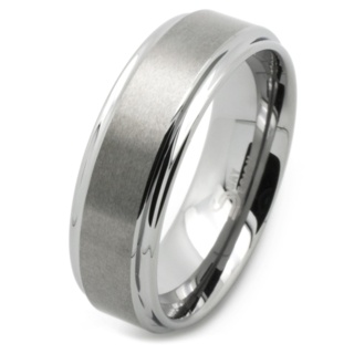 7mm Matte Tungsten Carbide Wedding Ring with Polished Shoulders