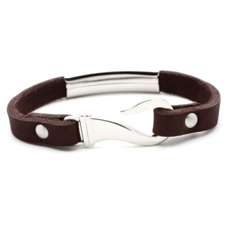 Brown Leather Bracelet with Steel Feature & Fish Hook Clasp