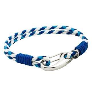 Triple Colour Blue Woven Leather Bracelet