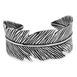 Oxidised Stainless Steel Feather Bangle