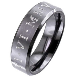 Customised Flat Profile Black Zirconium Wedding Ring