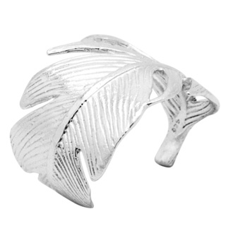Polished Silver Feather Ring