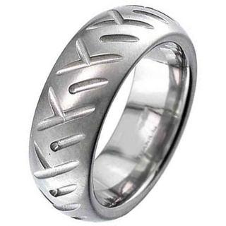 Dome Profile Titanium Ring with Motorbike Tyre Tread Pattern