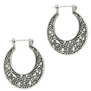 925 Silver Ethnic Hoop Earrings