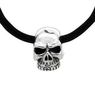 Small 925 Silver Skull Black Leather Necklace