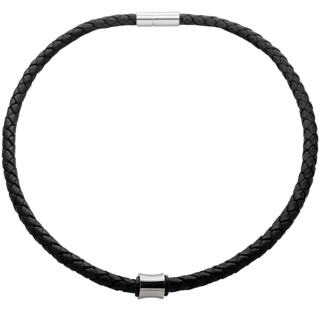 Woven Black Leather Necklace with a Polished Concave Titanium Bead