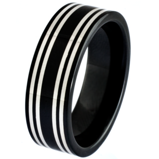 Black Ceramic Zirconium Ring with Central Silver Inlays