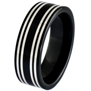 Black Ceramic Zirconium Ring with Central Silver Inlays