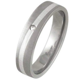 Swell Brushed Titanium & Silver Diamond Ring