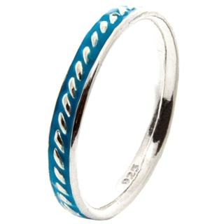 Silver Stacking Ring with Blue Enamel