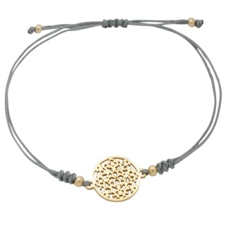 Gold Plated Charm Grey Bracelet