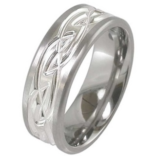 Flat Profile Silver & Titanium Celtic Wedding Ring