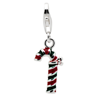 Silver Candy Cane Clip on Charm