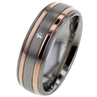 Court Shape Titanium Diamond Ring with Twin Rose Gold Inlays