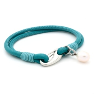 Soft Turquoise Leather Double Strap Bracelet Pearl Charm