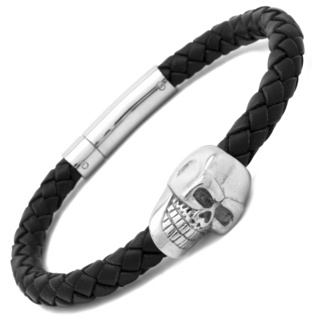 Black Woven Leather Skull Bracelet