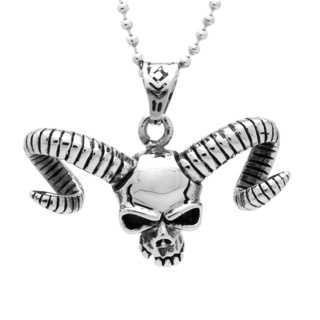 Stainless Steel Skull with Rams Horns Necklace