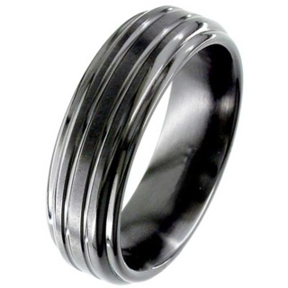 Flat Profile Black Grooved Zirconium Wedding Ring