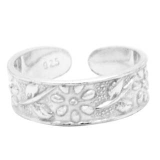 Polished 925 Silver Flower Toe Ring