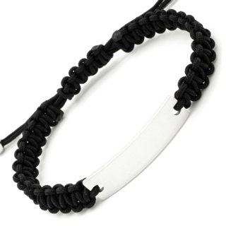 Stainless Steel Identity Bracelet with Black Cord