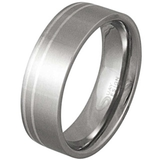 Dynamic Steel & Silver Inlaid Ring
