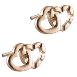 Rose Gold Interlocking Steel Heart Earrings