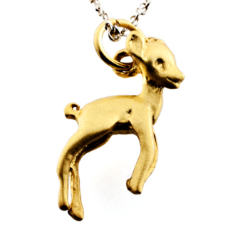 Gold Deer Charm Necklace