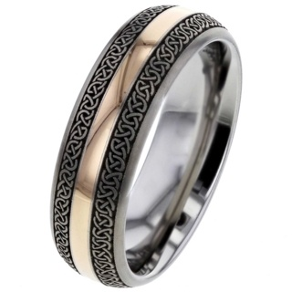 Celtic Titanium Ring with Rose Gold Inlay