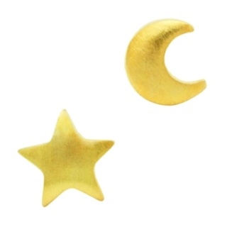 Star & Moon Gold Stud Earrings