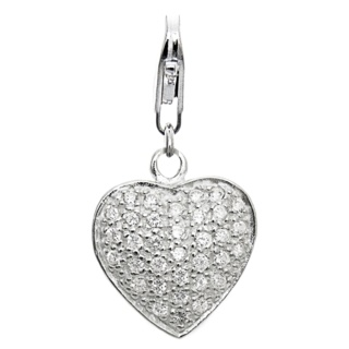 Silver Heart with Cubic Zirconia Crystals Clip on Charm