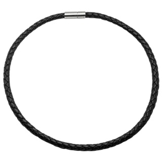 6mm Woven Black Leather Necklace