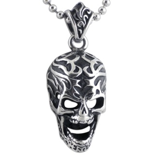 Elaborate Steel Skull Necklace on Beaded Chain