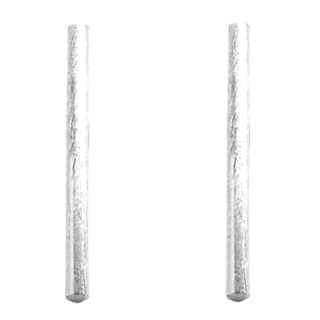 Round Silver Tube Bar Earrings