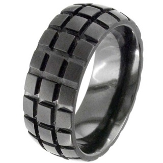 Black Dome Profile Zirconium Wedding Ring with Tyre Motif