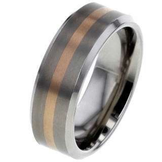 Rose Gold Inlaid Titanium Ring