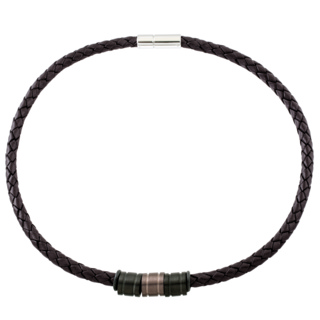 Woven 6mm Brown Leather Necklace with Black & Coffee Coloured Titanium Beads