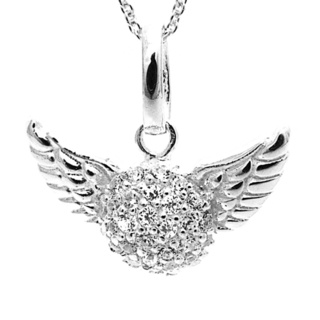 Silver Pave Cubic Zirconia Crystal Winged Heart Necklace