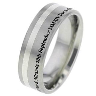 Customised Titanium Wedding Ring with White Gold Inlay