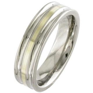 Gold Inlaid Titanium Wedding Ring